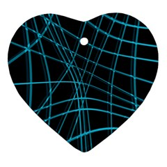 Cyan and black warped lines Ornament (Heart)