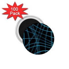 Cyan and black warped lines 1.75  Magnets (100 pack)