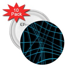 Cyan and black warped lines 2.25  Buttons (10 pack)