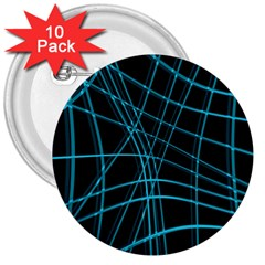 Cyan and black warped lines 3  Buttons (10 pack)