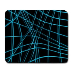 Cyan and black warped lines Large Mousepads