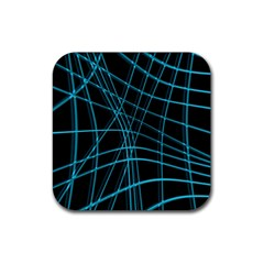 Cyan and black warped lines Rubber Coaster (Square)
