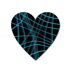 Cyan and black warped lines Heart Magnet