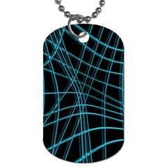 Cyan and black warped lines Dog Tag (One Side)