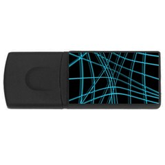 Cyan and black warped lines USB Flash Drive Rectangular (2 GB)