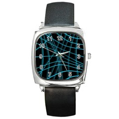 Cyan and black warped lines Square Metal Watch