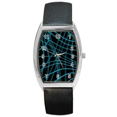 Cyan and black warped lines Barrel Style Metal Watch