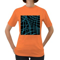 Cyan and black warped lines Women s Dark T-Shirt