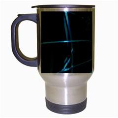 Cyan and black warped lines Travel Mug (Silver Gray)