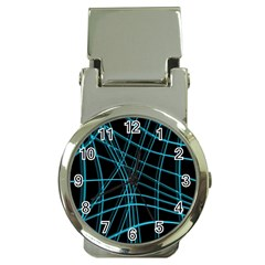 Cyan and black warped lines Money Clip Watches