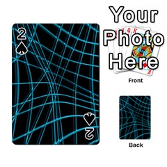 Cyan and black warped lines Playing Cards 54 Designs
