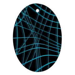 Cyan and black warped lines Oval Ornament (Two Sides)