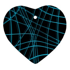 Cyan and black warped lines Heart Ornament (2 Sides)