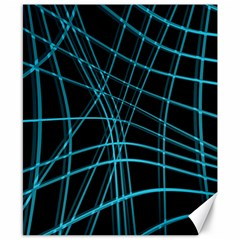 Cyan and black warped lines Canvas 8  x 10