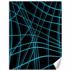 Cyan and black warped lines Canvas 18  x 24