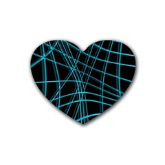 Cyan and black warped lines Heart Coaster (4 pack)