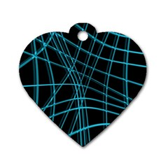 Cyan and black warped lines Dog Tag Heart (Two Sides)