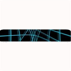 Cyan and black warped lines Small Bar Mats