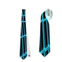 Cyan and black warped lines Neckties (One Side)