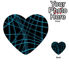 Cyan And Black Warped Lines Multi Purpose Cards (heart)