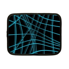 Cyan and black warped lines Netbook Case (Small)