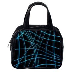 Cyan and black warped lines Classic Handbags (One Side)