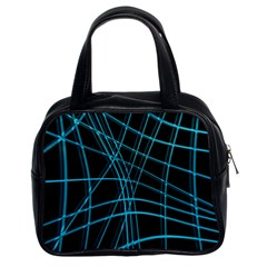 Cyan and black warped lines Classic Handbags (2 Sides)