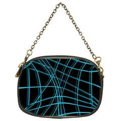 Cyan and black warped lines Chain Purses (One Side)