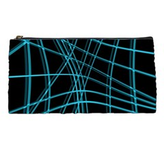 Cyan and black warped lines Pencil Cases