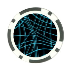 Cyan and black warped lines Poker Chip Card Guards (10 pack)