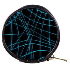 Cyan and black warped lines Mini Makeup Bags
