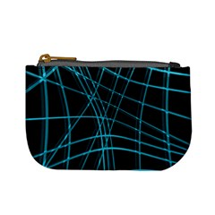 Cyan and black warped lines Mini Coin Purses
