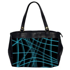 Cyan and black warped lines Office Handbags (2 Sides)