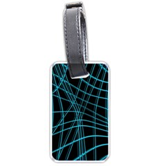 Cyan and black warped lines Luggage Tags (One Side)