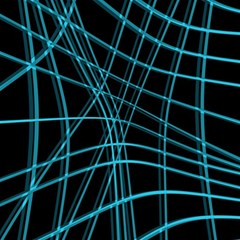 Cyan and black warped lines Magic Photo Cubes