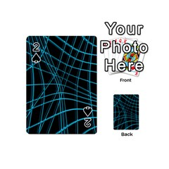 Cyan and black warped lines Playing Cards 54 (Mini)