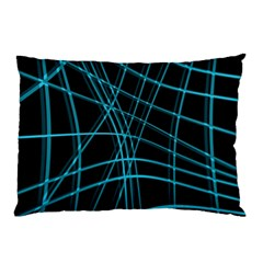 Cyan and black warped lines Pillow Case (Two Sides)