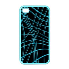 Cyan and black warped lines Apple iPhone 4 Case (Color)