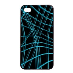 Cyan and black warped lines Apple iPhone 4/4s Seamless Case (Black)