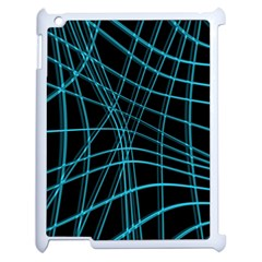 Cyan and black warped lines Apple iPad 2 Case (White)