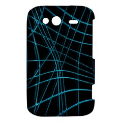 Cyan and black warped lines HTC Wildfire S A510e Hardshell Case
