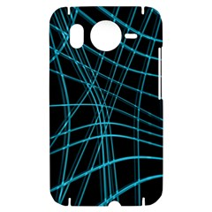 Cyan and black warped lines HTC Desire HD Hardshell Case