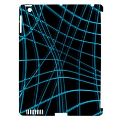 Cyan and black warped lines Apple iPad 3/4 Hardshell Case (Compatible with Smart Cover)