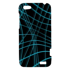 Cyan and black warped lines HTC One V Hardshell Case