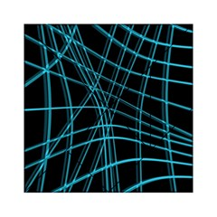 Cyan and black warped lines Acrylic Tangram Puzzle (6  x 6 )