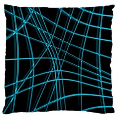 Cyan and black warped lines Large Cushion Case (Two Sides)