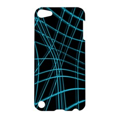 Cyan and black warped lines Apple iPod Touch 5 Hardshell Case
