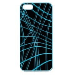 Cyan and black warped lines Apple Seamless iPhone 5 Case (Color)