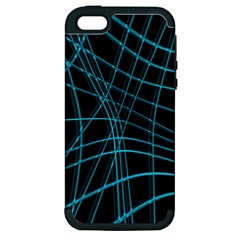 Cyan and black warped lines Apple iPhone 5 Hardshell Case (PC+Silicone)