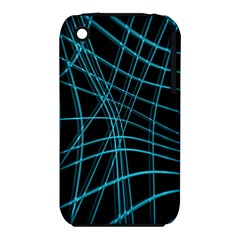 Cyan and black warped lines Apple iPhone 3G/3GS Hardshell Case (PC+Silicone)